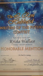 My certificate from Writers of the Future